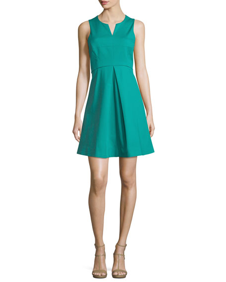 Halston Heritage Sleeveless Split-Neck Party Dress, Clover