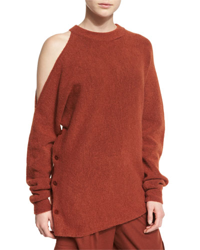 Cozy Cutout Melange Sweatshirt, Burnt Paprika
