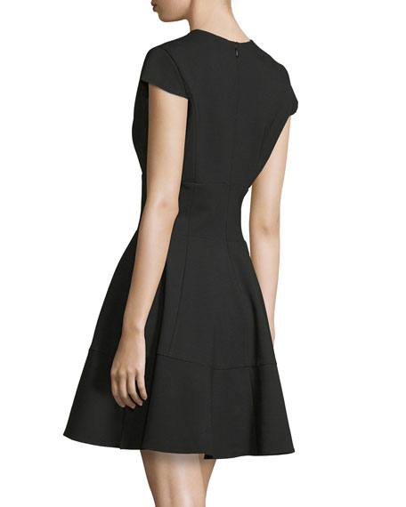 Cap-Sleeve V-Neck Fit-&-Flare Dress, Black