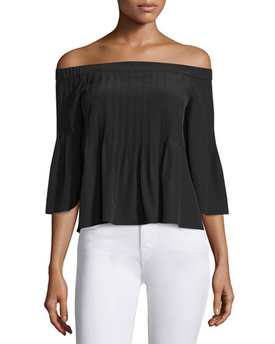 Pintucked Silk Off-the-Shoulder Top, Black