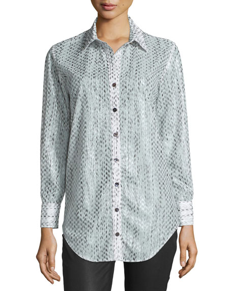 Finley Frida Arrowhead Button-Front Blouse, Gray/White