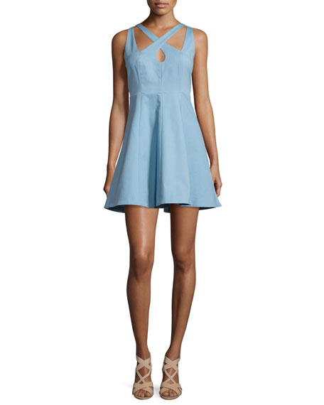 Sleeveless Fit-&-Flare Mini Dress, Glacier