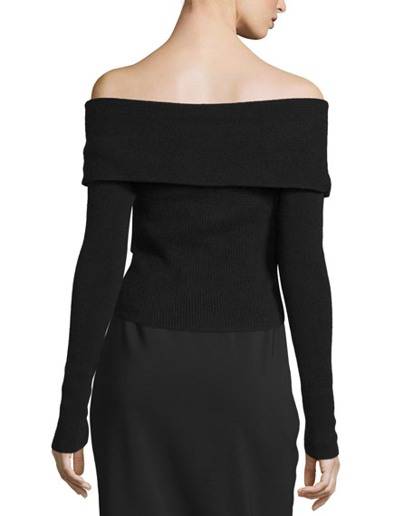 Off-The-Shoulder Surplice Long-Sleeve Sweater