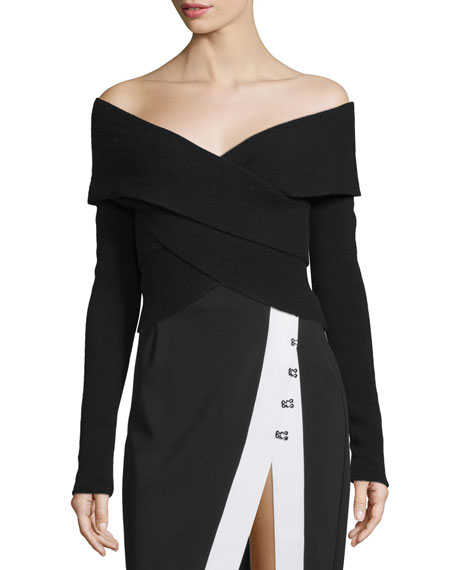 Kendall + Kylie Off-The-Shoulder Surplice Long-Sleeve Sweater
