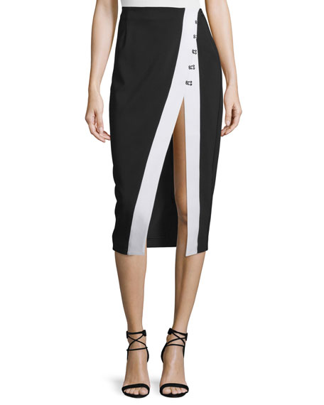 Kendall + Kylie High Slit Contrast-Trim Pencil Skirt