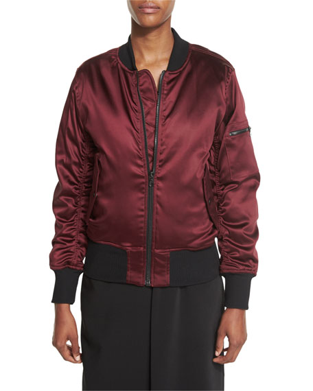 Matte Satin Bomber Jacket, Dark Cherry