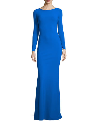 Long-Sleeve Woven-Back Ponte Gown, Cobalt