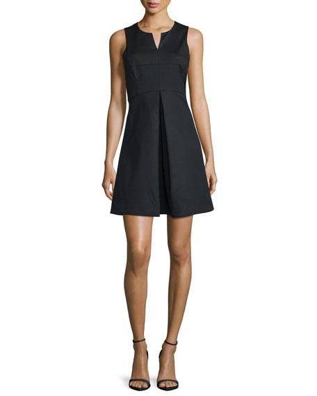 Halston Heritage Sleeveless Split-Neck Party Dress, Black