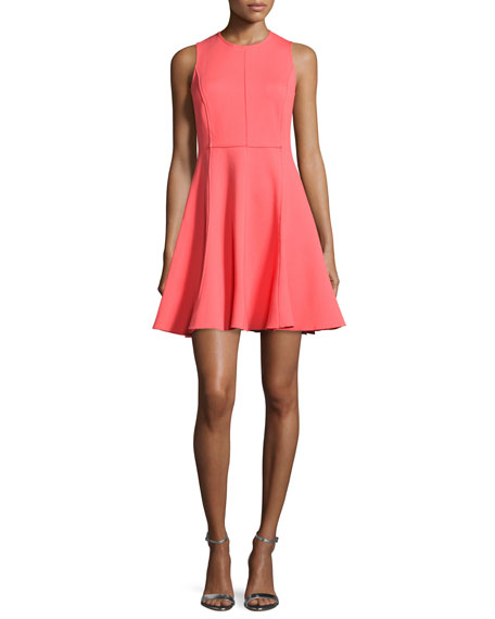 Ponte Sleeveless Fit-&-Flare Dress, Coral