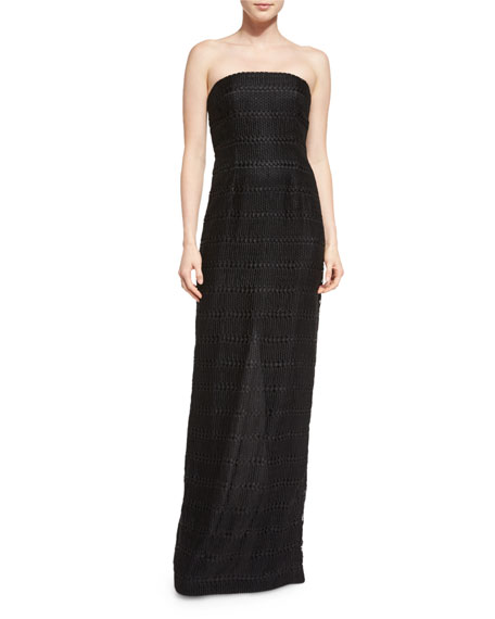 Carmen Marc Valvo Strapless Lace Bustier Column Gown