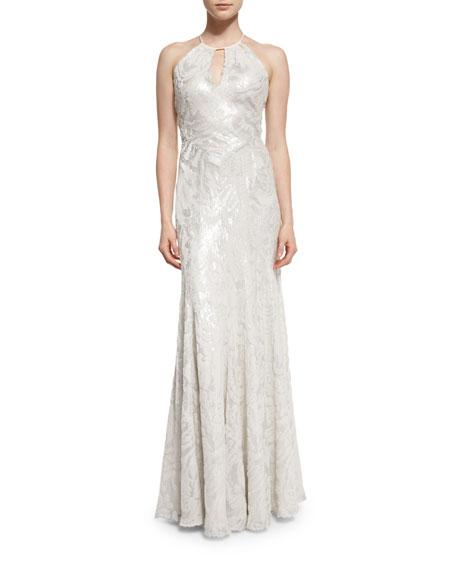 Halter-Neck Metallic Burnout Gown, Platinum