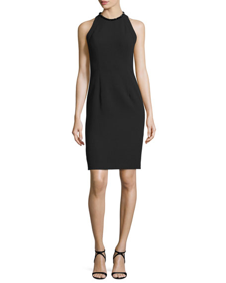 Carmen Marc Valvo Sleeveless Sheath Dress W/Back Cutouts,