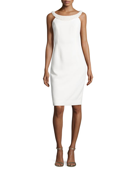 Carmen Marc Valvo Sleeveless Sheath Dress W/Fringe Trim,