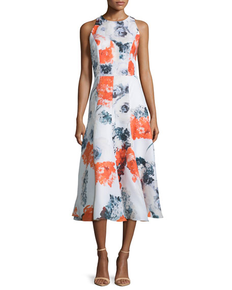 Sleeveless Floral-Print Midi Dress, Orange