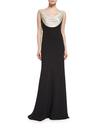 Sleeveless Embellished-Cowl Mermaid Gown, Black/Silver