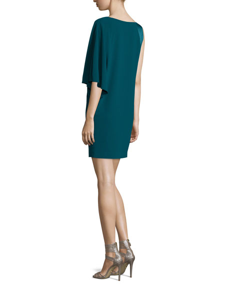 Asymmetric-Sleeve Shift Dress, Spruce