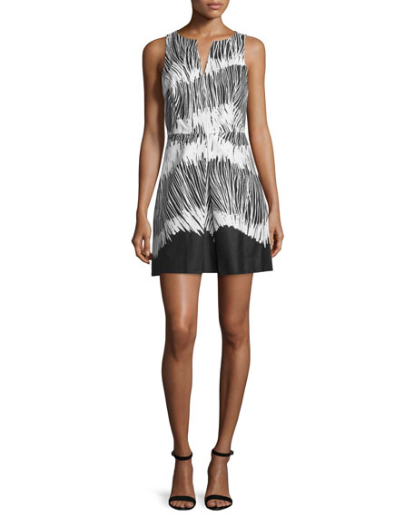 Halston Heritage Sleeveless Printed Dress, Black