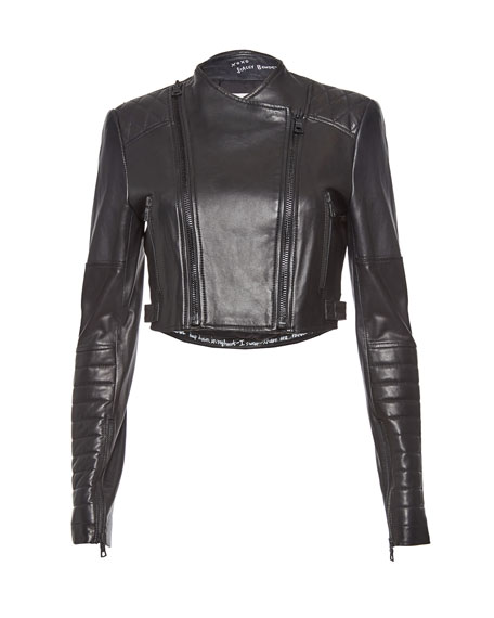 Fin Cropped Leather Multi-Zip Moto Jacket, Black