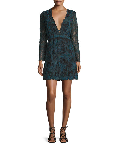 Kateria Long-Sleeve Lace Mini Dress, Black Multi