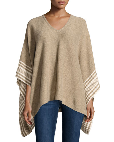 Optique Striped Poncho, Wheat/Natural