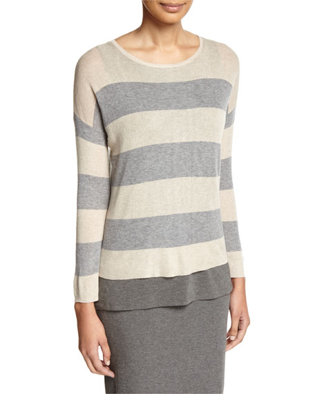 Eileen Fisher Sleek Lyocell/Merino Long-Sleeve Striped Boxy Top,