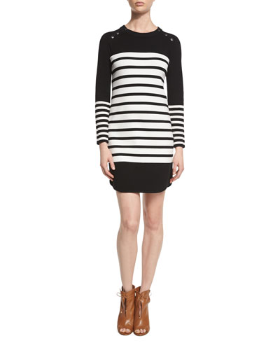 Scottie Striped Sweaterdress, Black/White Stripe