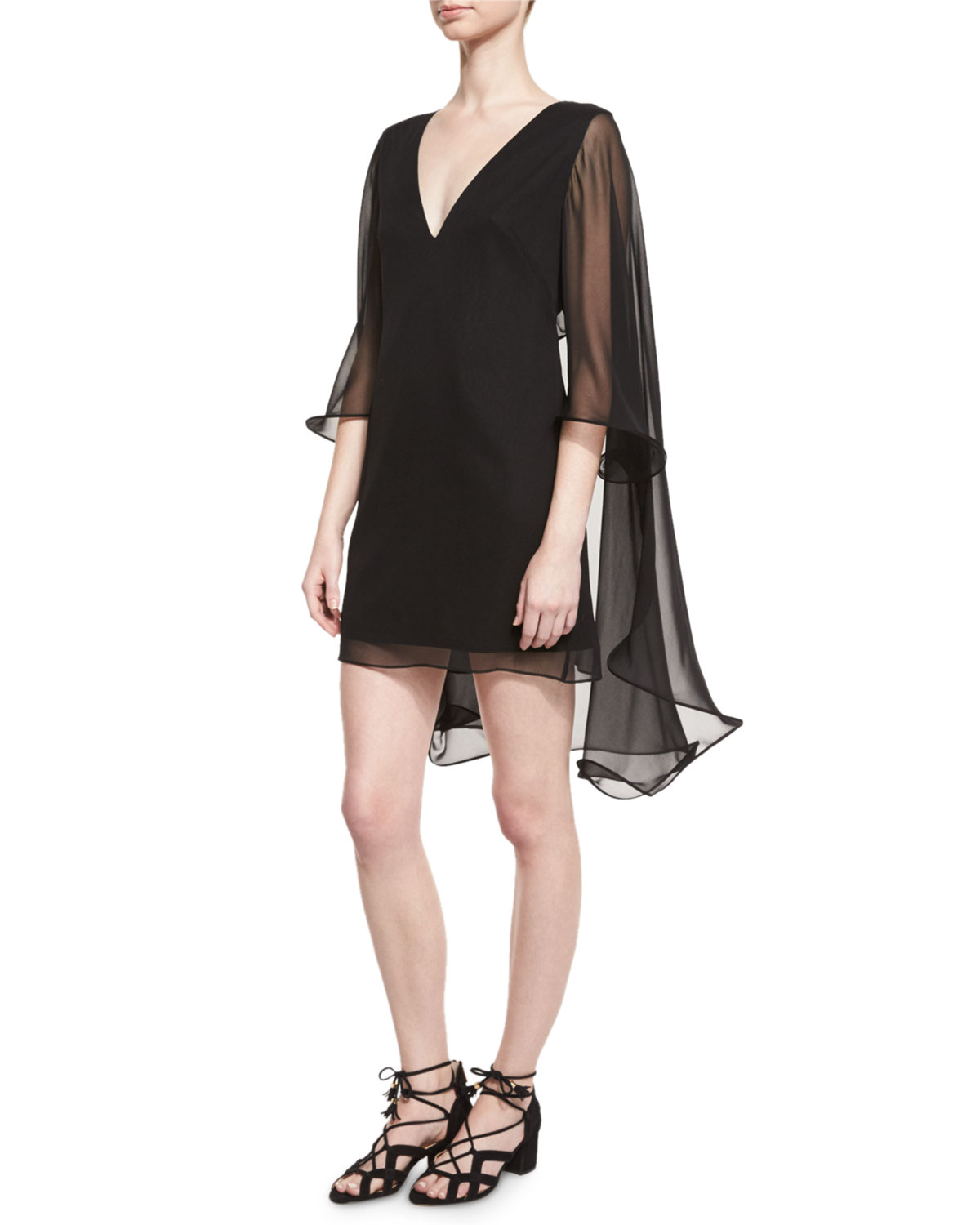 1262b09a77 Milly Silk Chiffon V-Neck Cape Dress