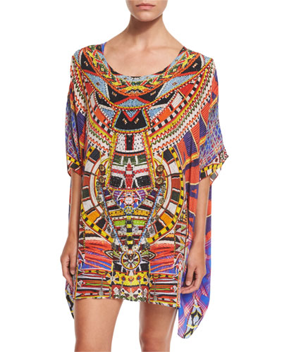 Printed Embellished Short Caftan Coverup, Rainbow Warrior