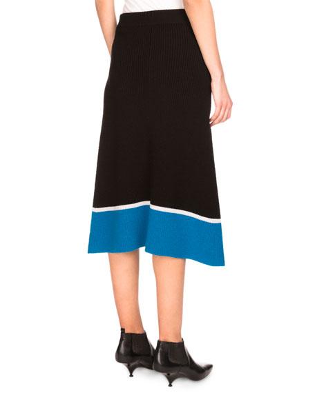 Ribbed Striped Wool Midi Skirt, Black