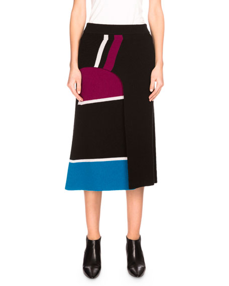 Kenzo Ribbed Striped Wool Midi Skirt, Black