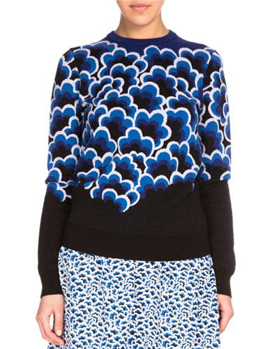 Wool Popcorn Jacquard Pullover Sweater, Cobalt