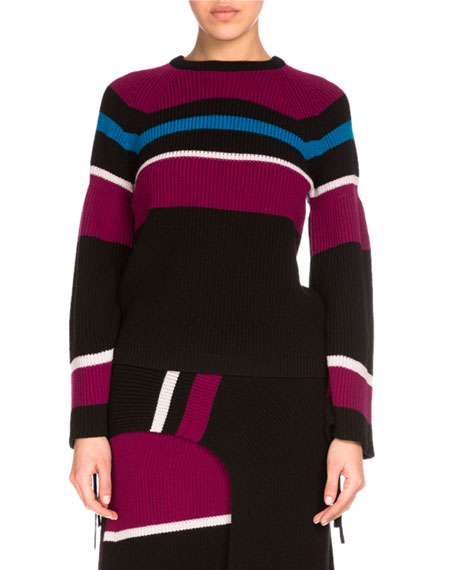 Kenzo Ribbed Striped Wool Sweater, Black