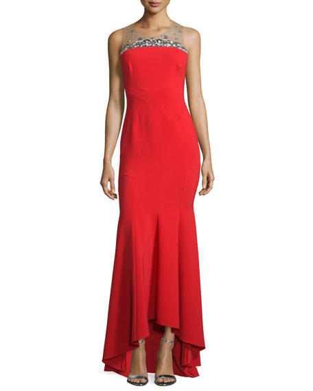 Marchesa Notte Sleeveless Contour Ponte Gown, Red