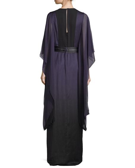 3/4-Sleeve Belted Caftan Gown, Elderberry