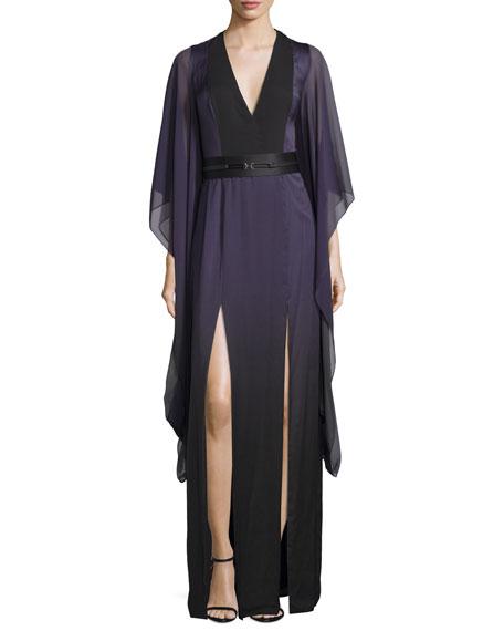 Halston Heritage 3/4-Sleeve Belted Caftan Gown, Elderberry