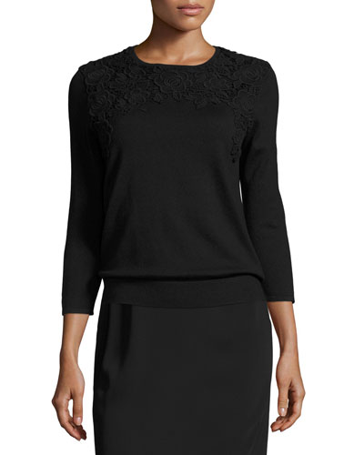 3/4-Sleeve Lace-Trim Silk-Blend Sweater, Black/Black