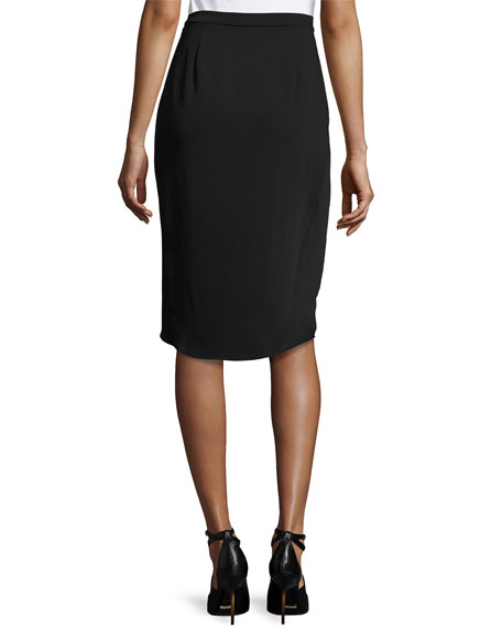 Signature Relaxed High-Low Faux-Wrap Skirt, Black