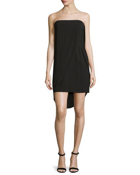 Strapless Draped Sheath Dress, Black