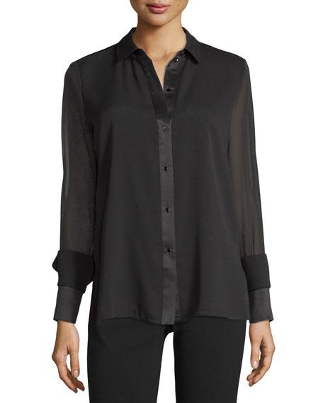 Long-Sleeve Button-Front Blouse, Black