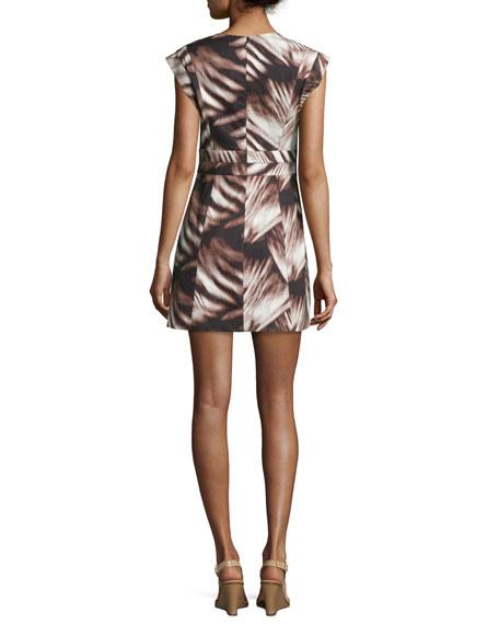 Printed Cap-Sleeve Faux-Wrap Dress, Black Whisp