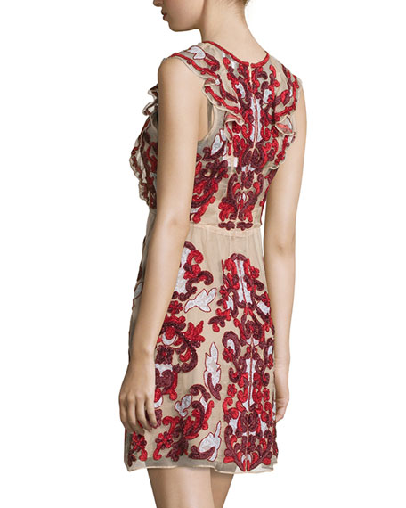 Rosewell Embroidered Dress, Cordovan