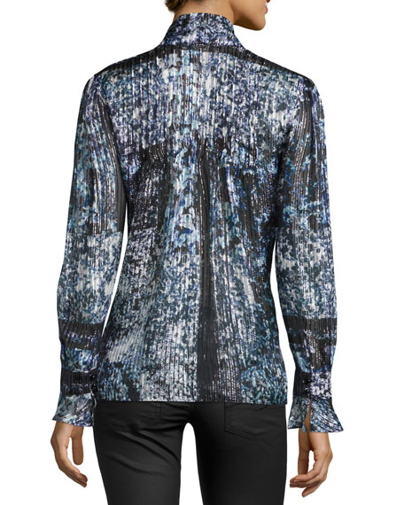 Brielle Metallic Tie-Neck Blouse, Polar Nightshade