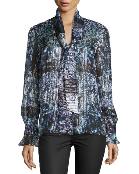 Parker Brielle Metallic Tie-Neck Blouse, Polar Nightshade