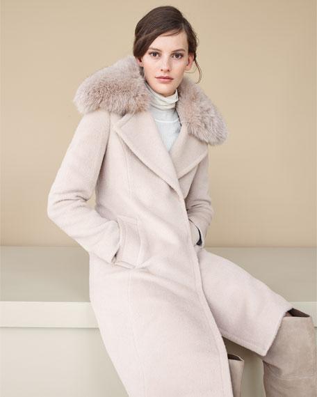 Long Fox-Trim Wool-Blend Peacoat, Dusty Rose