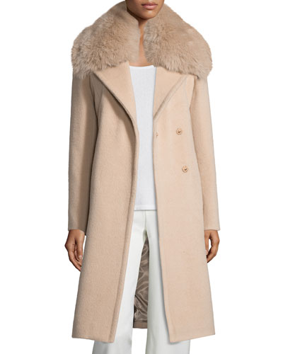 Long Fox-Trim Wool-Blend Peacoat, Dusty Rose