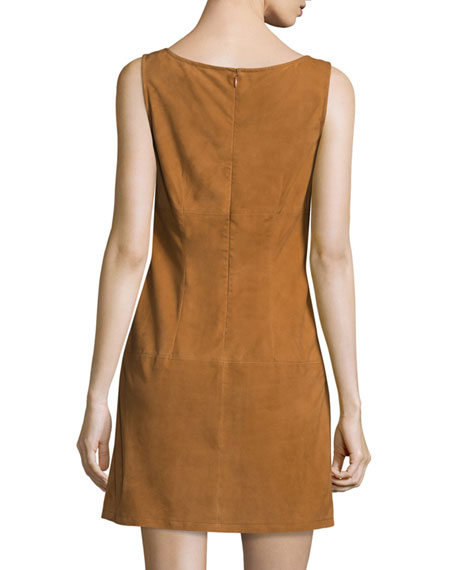 Sleeveless Suede Mini Dress, Cognac