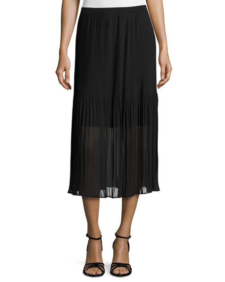 Pleated Chiffon Midi Skirt, Black