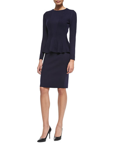 Peplum Sweater & Skirt Set, Duchess Blue