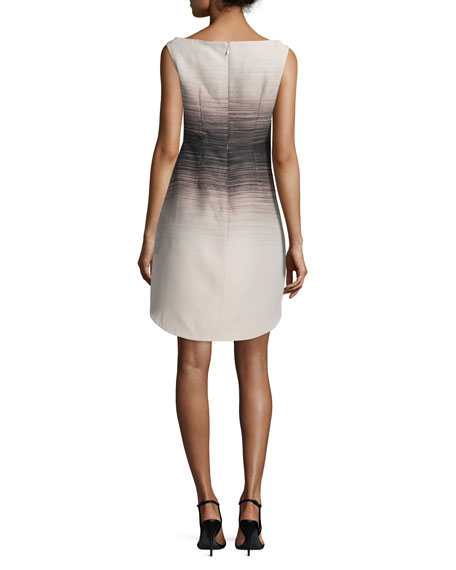 Sleeveless Ombre Structured Dress, Buff/Black