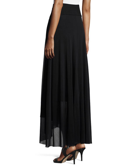 Asymmetric-Hem Tulle Maxi Skirt, Black